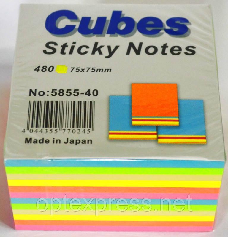 Самоклеющийся куб  480 листов 75х75 мм Радуга ІNFO NOTES