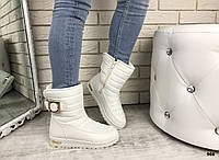 Женские ботинки-дутики белые зимние на меху водоотталкивающий текстиль, эко-кожа