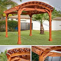 Арочная деревянная пергола для дачи