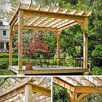 Деревянная пергола-беседка для зоны отдыха в саду