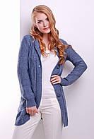 Модный женский вязаный кардиган на пуговицах однотонный цвет светлый джинс
