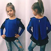 Батник для девочки,блузка с кружевом (разные цвета)122-140см.