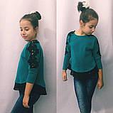 Батник для девочки,блузка с кружевом (разные цвета)122-140см., фото 4