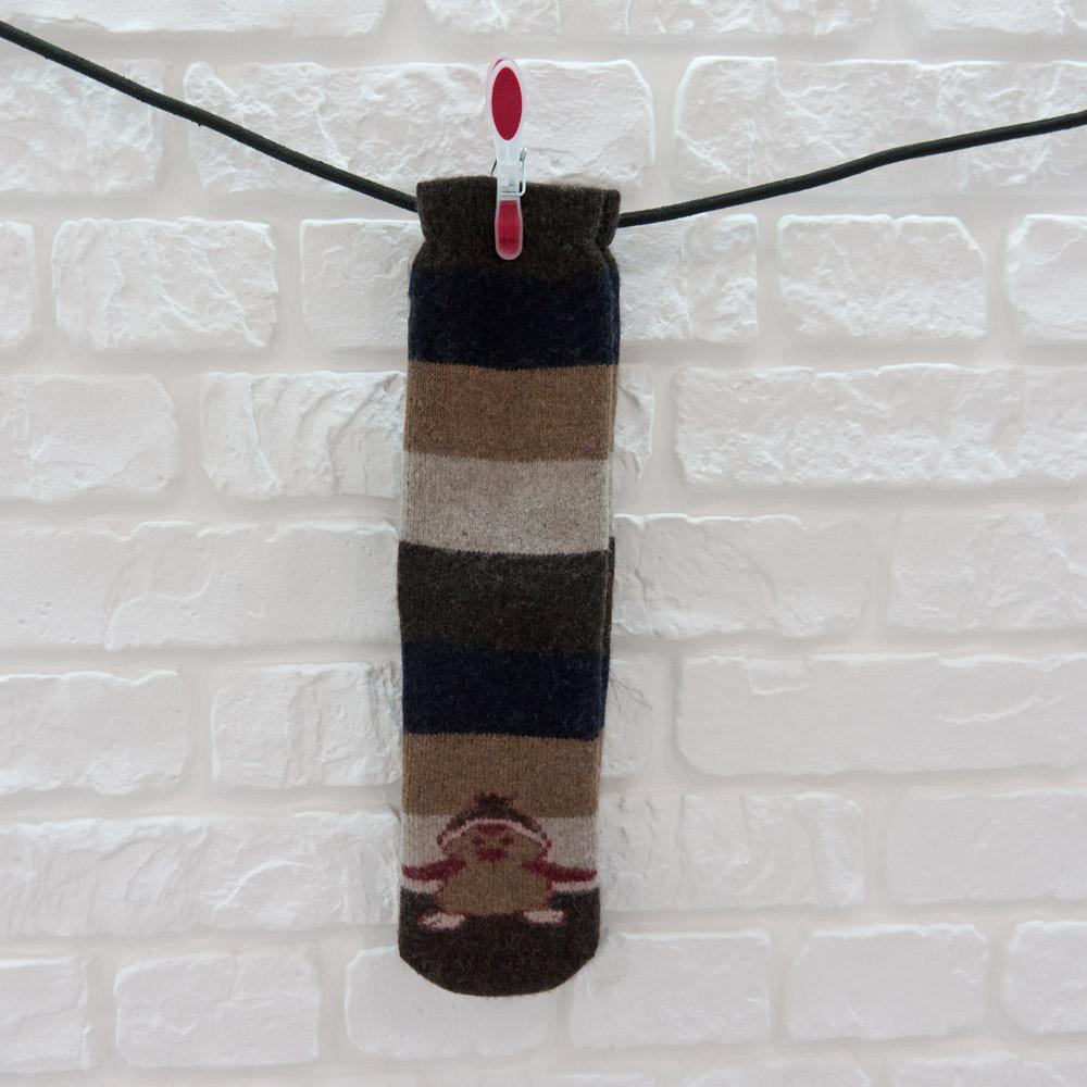 Носки женские высокие из шерсти черно-коричневый