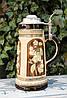 Антикварный пивной бокал, олово, керамика, Германия, Sitzendorf Porcelain