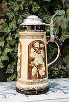 Антикварный пивной бокал, олово, керамика, Германия, Sitzendorf Porcelain, фото 1