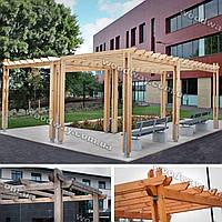 Пергола из дерева для парковых зон и зон ожидания