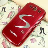 Металлический красный чехол к Samsung GalaxyS3 (i9300) с логотипом Галакси, фото 1