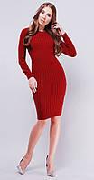Длинное вязаное платье бордо  (42-46)