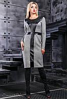 Женское платье из эко-замша, со вставками из эко-кожи, серое, размер 44-50