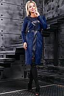 Женское платье из эко-замша, со вставками из эко-кожи, синее, размер 44-50