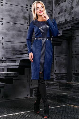 274a4b826c59993 Женское платье из эко-замша, со вставками из эко-кожи, синее, размер 44-50  купить в Запорожье: выгодные цены, характеристика, отзывы, в наличии    платья ...