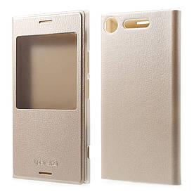 Чехол книжка для Sony Xperia XZ1 G8342 боковой с окошком, золотистый