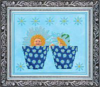 """РАСПРОДАЖА! Набор для вышивки бисером на натуральном художественном холсте """"Близнецы"""""""
