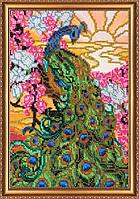 """Набор для вышивки бисером на натуральном художественном холсте """"Павлин"""""""