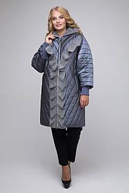 Женская удлиненная куртка с воланом 613 / размер 50-60 / цвет серый