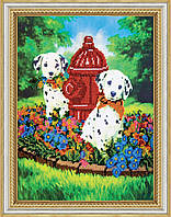"""РАСПРОДАЖА! Набор для вышивки бисером на натуральном художественном холсте """"Далматинцы"""""""