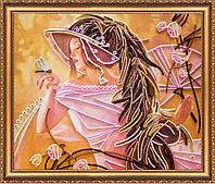 """РАСПРОДАЖА! Набор для вышивки бисером на натуральном художественном холсте """"Стрекоза"""""""