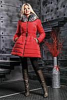 Модная Зимняя Куртка с Меховым Воротником Красная S-XL