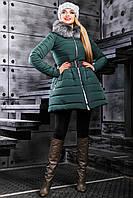 Модная Зимняя Куртка с Меховым Воротником Зеленая S-XL