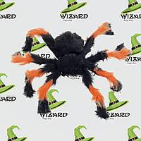 Паук из меха (50см) черный с оранжевым