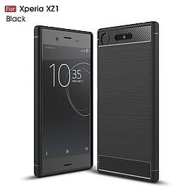 Чехол накладка для Sony Xperia XZ1 G8342 силиконовый, Carbon Fiber, черный