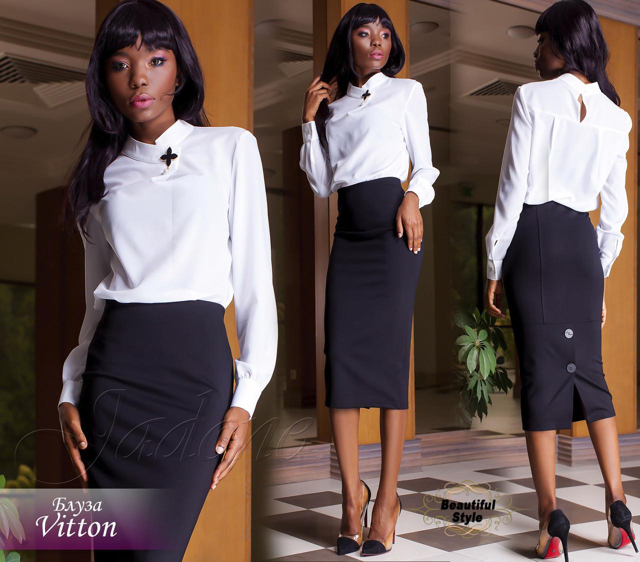 8ed5f19f922 Женская белая блузка с длинными рукавами Vitton