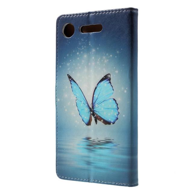 чехол книжка Sony Xperia XZ1 G8342 с голубой бабочкой над водой