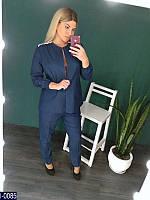 Модный темный джинсовый костюм двойка  с удлиненным жакетом батального размера. Арт-14084