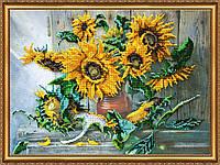 """Набор для вышивки бисером на натуральном художественном холсте """"Цветы солнца"""""""