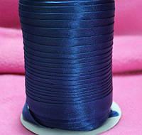 Косая бейка атласная электрик, темно-синий