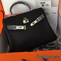 Женская кожаная сумка Гермес Келли 32 см в черном цвете, Люкс копия