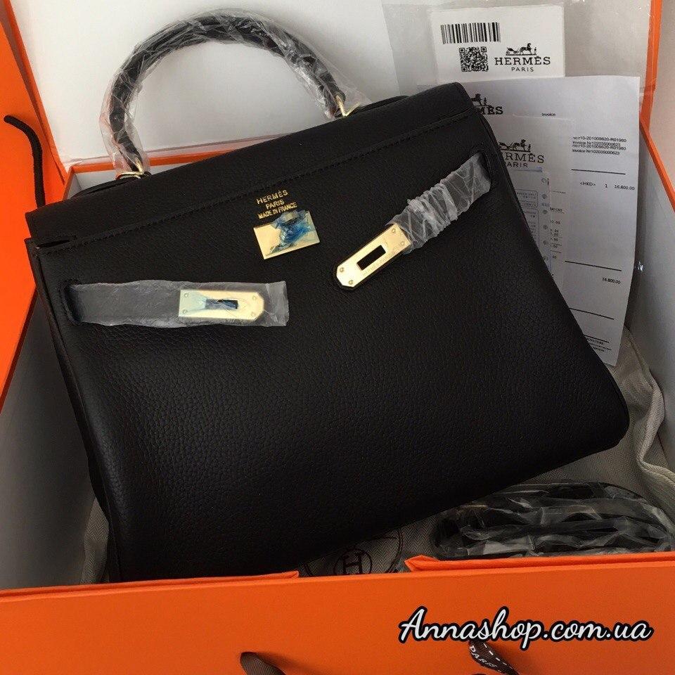 f33f363d8b4a Женская кожаная сумка Эрмес Келли 32 см в черном цвете: продажа ...