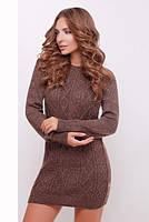 Теплое вязаное коричневое платье 143 ТМ Irmana 44-50 размеры