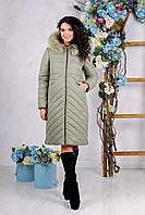Зимняя куртка - пальто женская Liliya цвет Оливковый