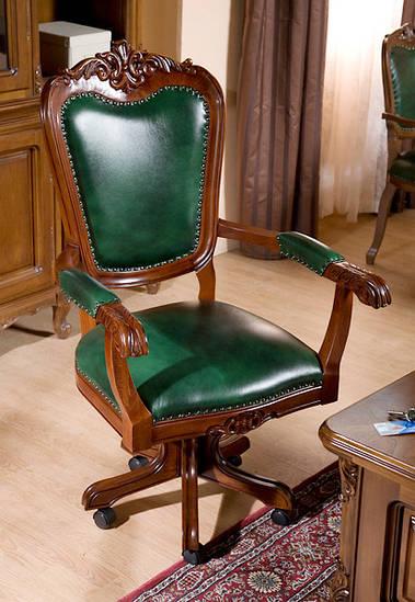 Вращающий стул с подлокотником /кожа/