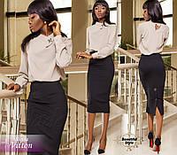 Женская бежевая блузка с длинными рукавами Vitton
