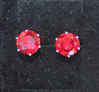 Серьги-гвоздики, серебро, красный куб. цирконий, 6мм, фото 1