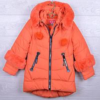 """Куртка подростковая зимняя """"MiNiKa"""" #6010 для девочек. 128-152 см (8-12 лет). Морковная. Оптом., фото 1"""