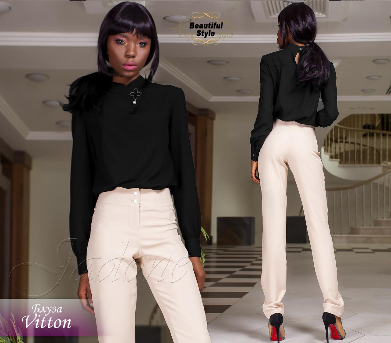665a5f1f1e3 Женская чёрная блузка с длинными рукавами Vitton   продажа
