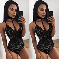 Женское эротическое белье боди с чокером, комбидресс, кружевное, нижнее, сексуальное, черное 11148с