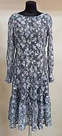 Коктейльное гипюровое платье ,бело-синее, с длинным рукавом ,подол с воланом,приталенное,трапеция,р.46-48