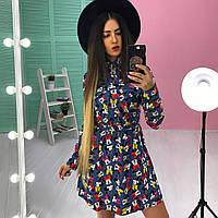 Джинсовое приталенное платье с длинным рукавом, Ника