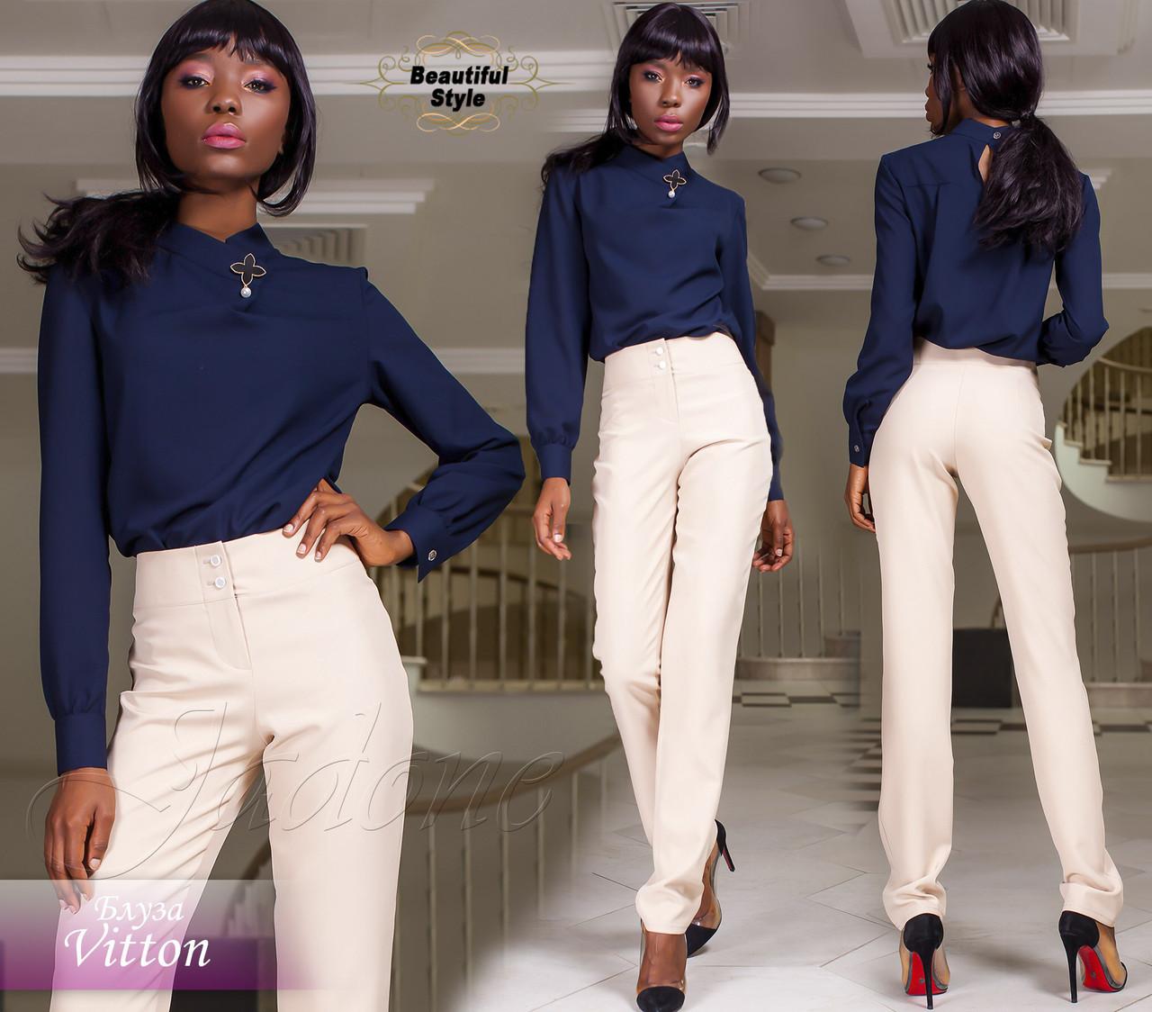 dd666abefb1 Женская темно-синяя блузка с длинными рукавами Vitton  продажа