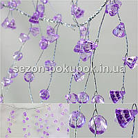 (110см) Веточка с кристаллами на проволоке (≈46веточек,184 кристаллов) Цвет - СВЕТЛО СИРЕНЕВЫЙ