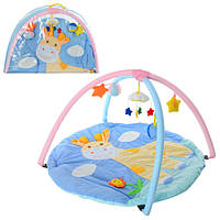 Коврик для младенца W 8315 (18шт) жираф, кругл.85см, дуги 2шт,подвески-плюш 5шт, в сумке, 81-56-6см