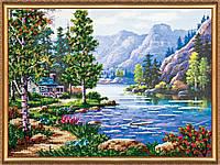 """Набор для вышивки бисером на натуральном художественном холсте """"Утро в горах"""""""