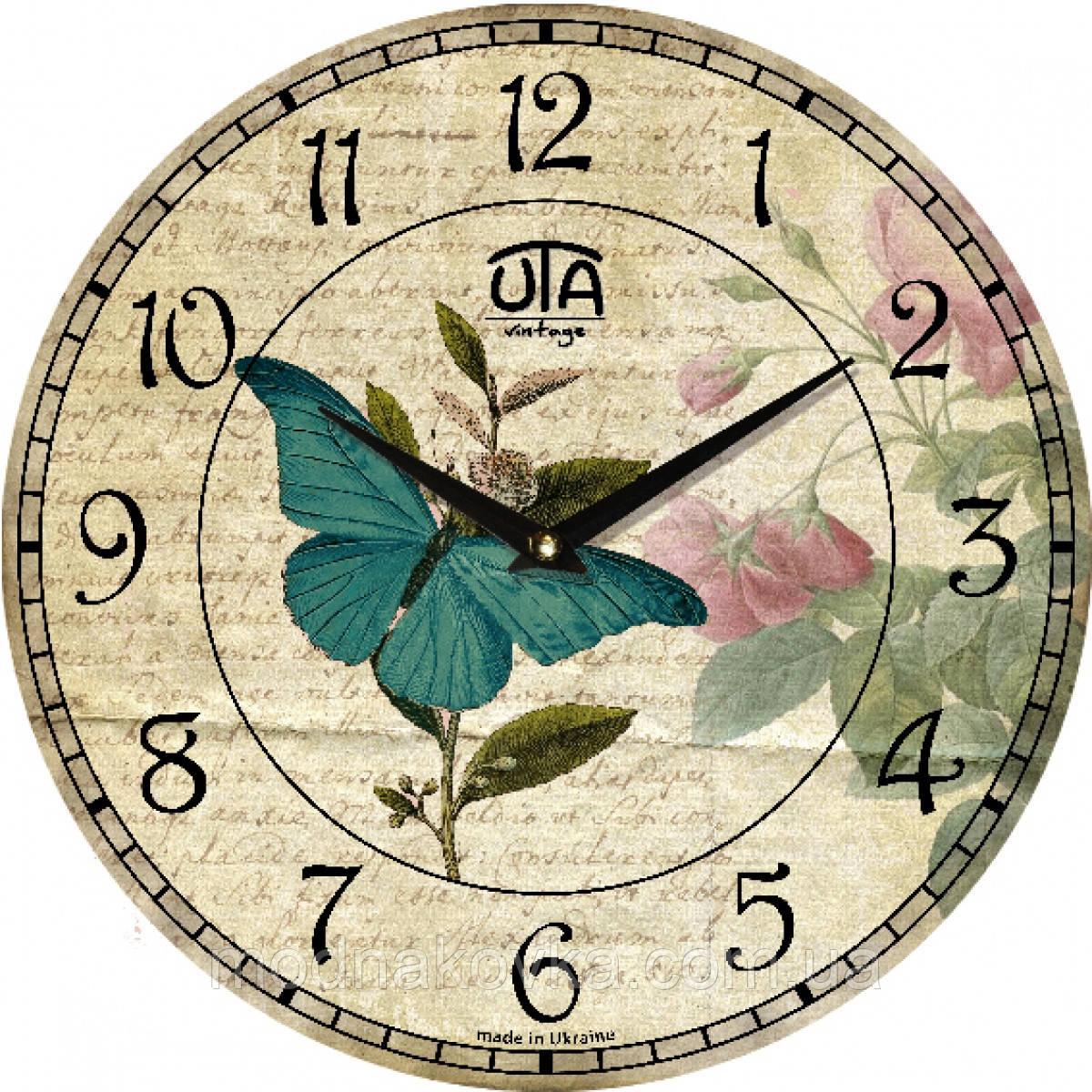 """Часы настенные """"Бабочка на цветке"""" круглые"""