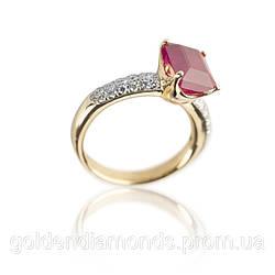 Кільце з жовтого золота з рубіном і діамантами С14Л1№21