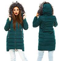 Зимняя прямая женская куртка с капюшоном